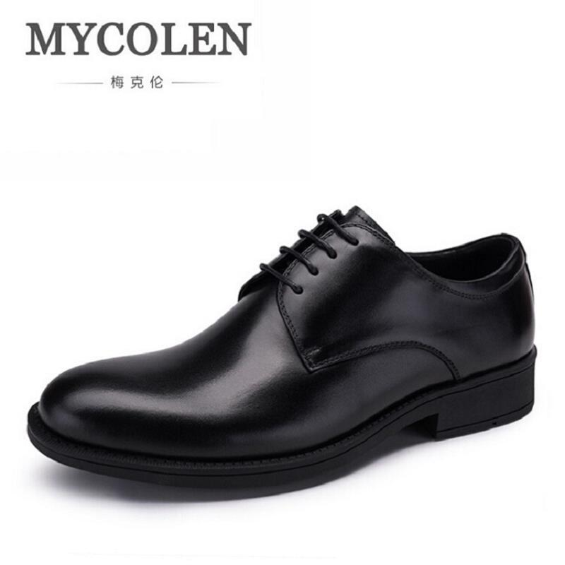 MYCOLEN Genuine Leather Men Oxfords Spring/Autumn Men Casual Shoes Business Office Shoes Handmade Cowhide Dress Shoes zapatos pjcmg spring autumn men s genuine leather pointed toe slip on flats dress oxfords business office wedding for men flats shoes