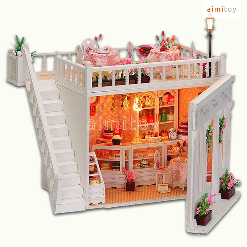 A46 Small Wood Doll House Cake Shop Diy Kit For Kids In Model