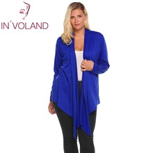 IN'VOLAND Oversized 4XL Women's Cardigan Large Long Sleeve Coat Open Front Draped Irregular Casual Loose Sweater Tops Plus Size