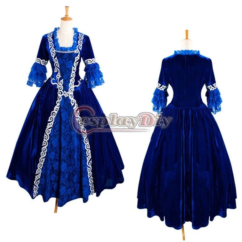 Free Shipping Custom made Elegant Blue Medieval Victorian Dress ...