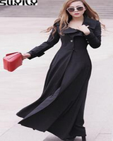 Long Trench Coat Women Single Breasted New 2016 European Style Brand Slim Female Extra Long Dust