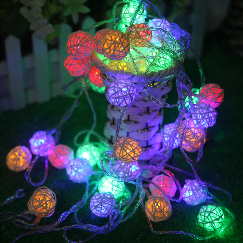2M 20 LED White/ Warm White AC110V-125V Rattan Ball LED String Christmas Lights Garlands for Holiday Wedding Party Decoration
