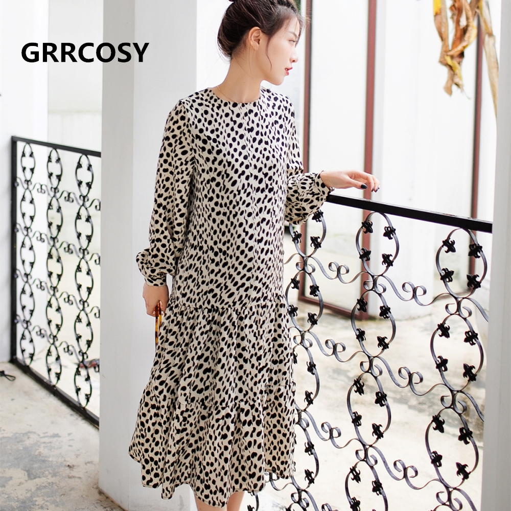 GRRCOSY Maternity Dresses Black Dot Chiffon Long Dress Spring Autumn New Casual Loose Bohemian Fashion Women