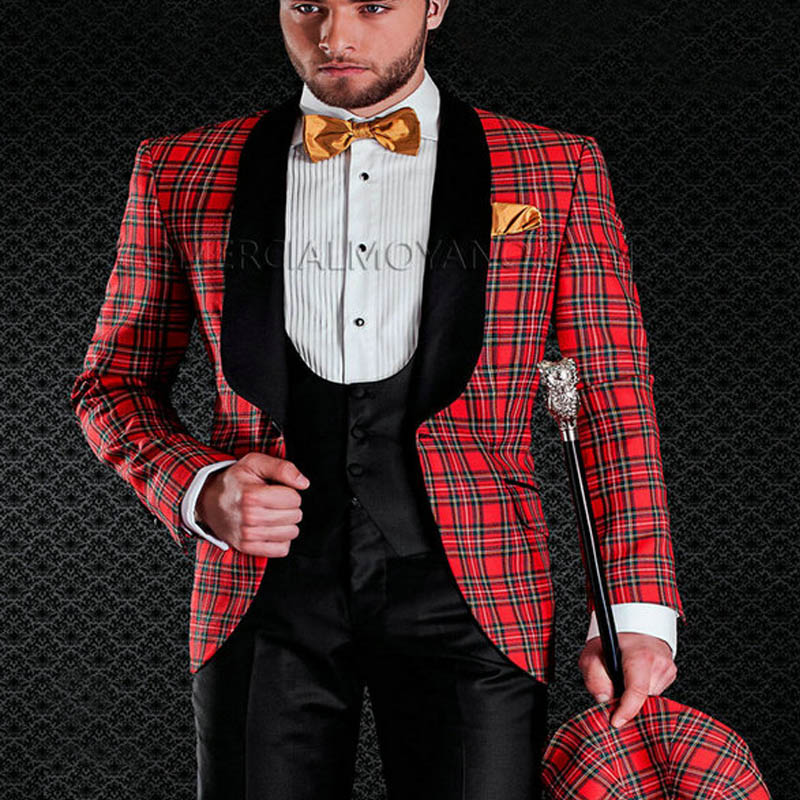 Scottish Plaid Groom Tuxedos For Wedding Prom Mens Suit Black Shawl Lapel Tailored Made 3 Piece Set Jacket With Black Pants Vest