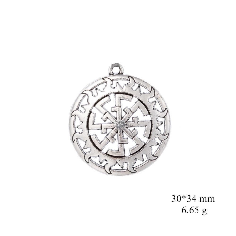 Давапара двойное славянское солнце колесо свитова Подвески античное серебро оптовая продажа металла очарование ювелирные изделия женские аксессуары