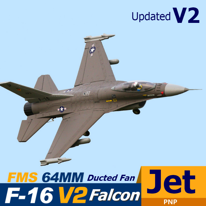 FMS RC Airplane 64mm F16 F-16 V2 Vigilantes Ducted Fan EDF Jet Grey Scale Warbird Fighter Model Hobby Plane Aircraft Avion PNP