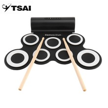 TSAI Electronic Roll Drum Pad Built In Speakers Digital Drum 9 Silicon Pad With Foot Pedals