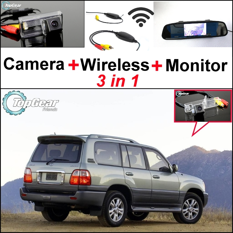 3 in1 Special Rear View Wifi Camera + Wireless Receiver + Mirror Monitor Easy DIY Parking System For LEXUS LX 470 LX470 J100 3 in1 special rear view camera wireless receiver mirror monitor easy diy backup parking system for jeep liberty 2002 2007