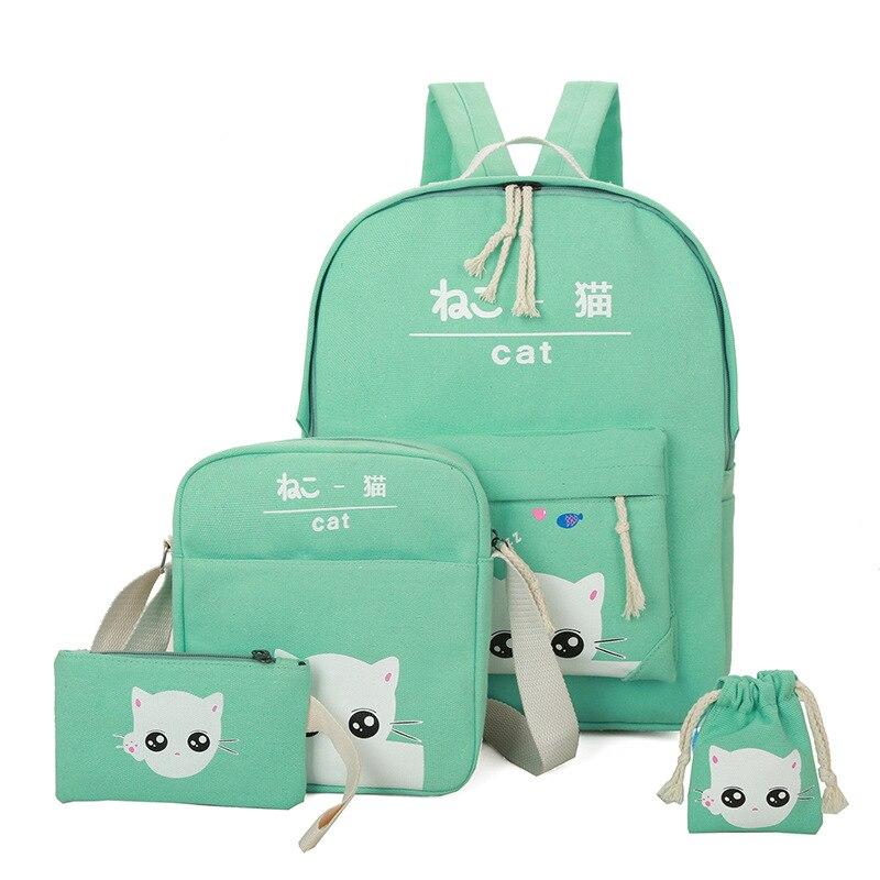 2018 мода мультфильм котенок рюкзак для дамы высокого качества холст школьная сумка для девочек-подростков Колледж 4 шт./компл. школьные рюкза...