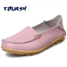 TOURSH Flat Shoes Women Big Size Slip On Shoes For Women Black Leather Oxford Shoes For
