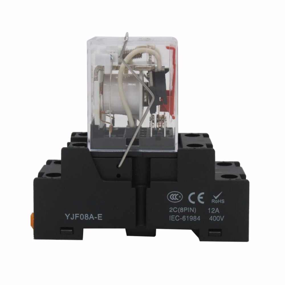 Quality Assurance for 2 Years TWTADE//AC 12V Coil Electromagnetic Power Relay 5A 2DPT 8 Pins 2NO+2NC MY2NJ HH52P with YJF08A-E Socket Base YJ2N-GS