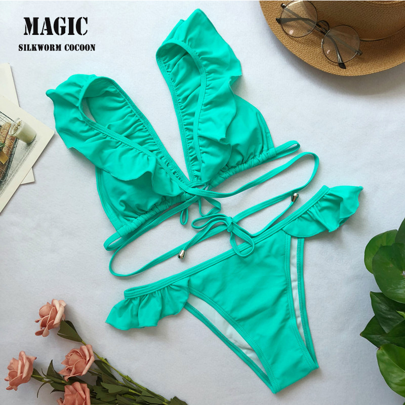 Women Solid Green White Swimwear With Pad Two Piece Sexy Color Crossing Bandage Ruffle Bikinis Swimsuit Beach Bathing Suit 2018