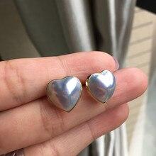 Women Gift word 925 Sterling silver real Long-lasting natural Japanese sea water pearl stud earrings heart-shaped 12.8-13.5