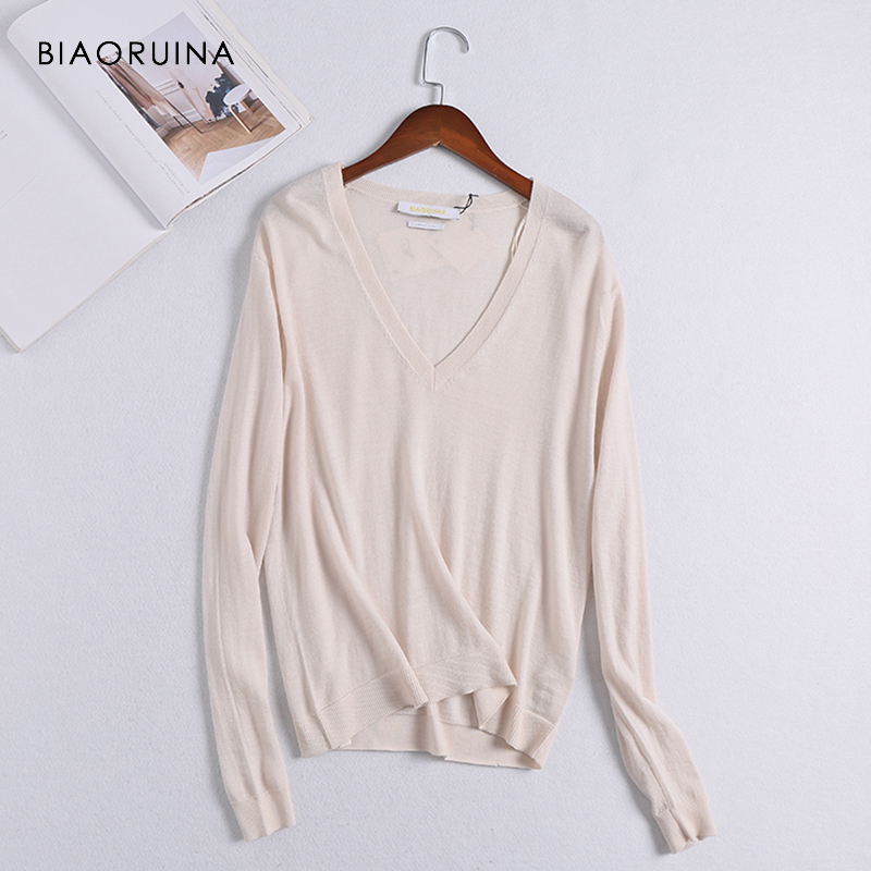 BIAORUINA Women Chic Merino Wool Thin Knitted Sweater Ddep V-neck Elegant Women's Solid Sweater Pullover Female Casual Sweaters