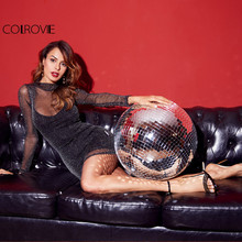 COLROVIE High Neck Glitter Mesh with Black Underlay Bodycon Dress