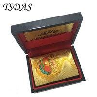 الذهب احباط بطاقات اللعب 24 كيلو نمط الذهب مطلي إله الثروة ، تذكارية أوراق اللعب مع هدية مربع لجمع