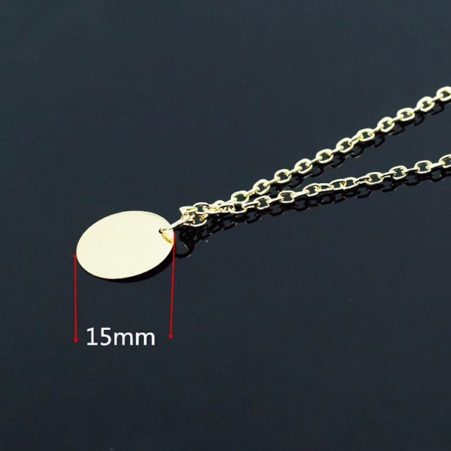 Gold Color Round Circle Pendant Necklace  3