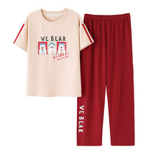 Summer2019 pyjama femme cotton round neck short-sleeved trousers pajamas 2pcs print casual sleepwear lounge set sports suit pink