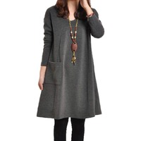 Solid Loose Casual Full Sleeve Vintage Party Dress Fashion Autumn Korean Style Women Dress Cute O