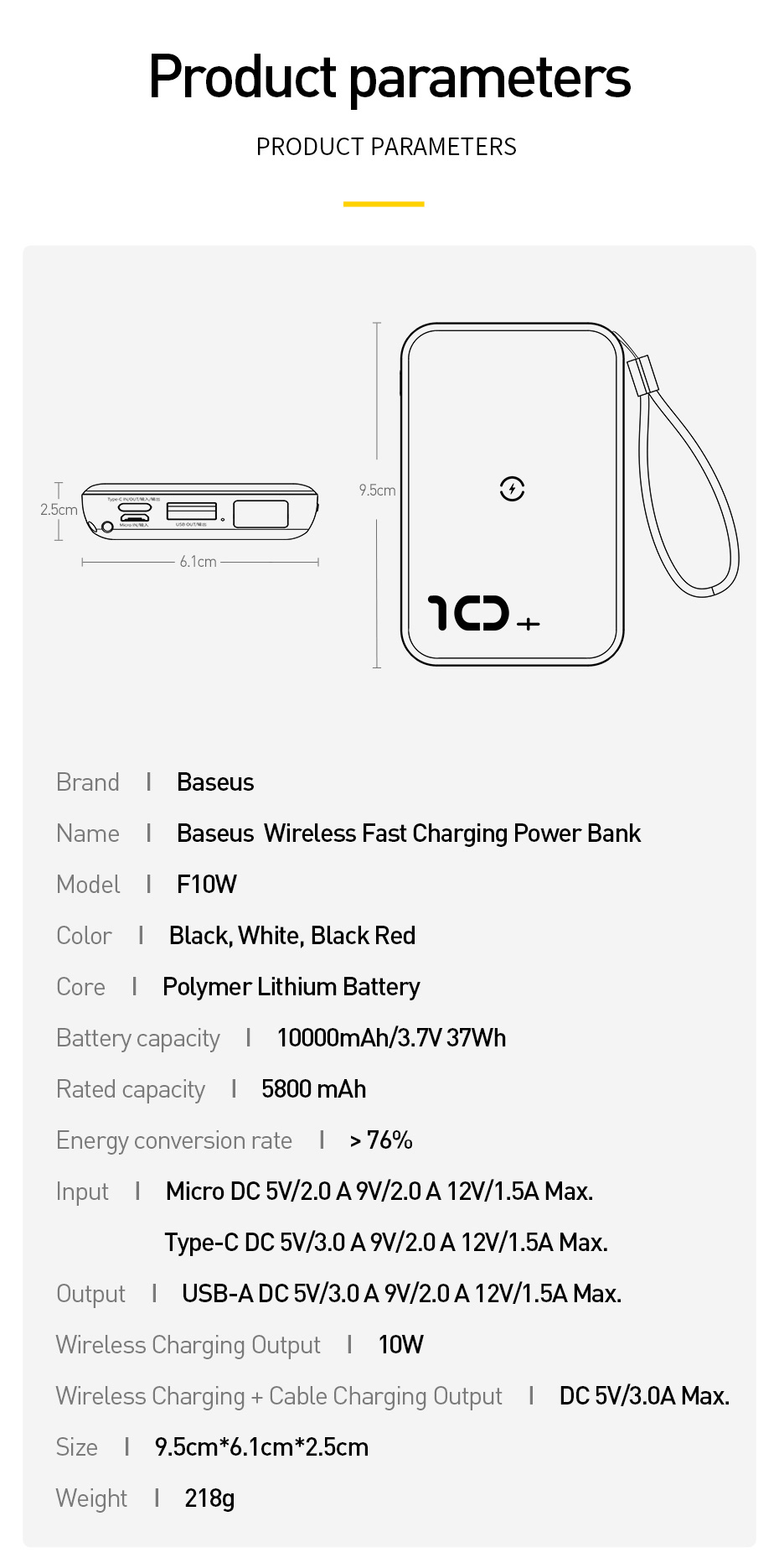 Baseus 10000mAh Qi Wireless Charger Power Bank for iPhone Samsung Huawei Powerbank PD Quick Charge 3.0 Portable External Battery 23