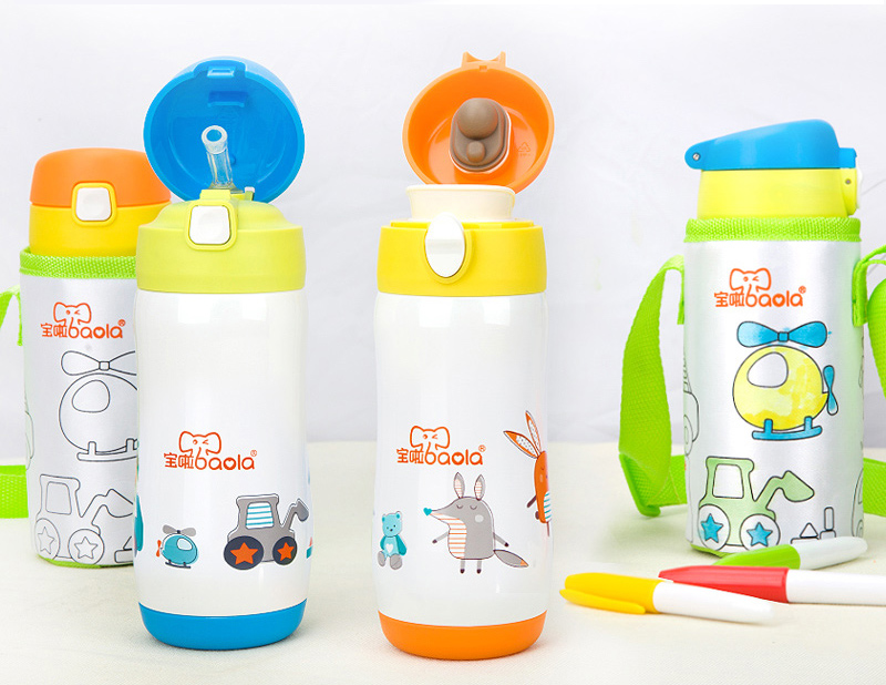 все цены на kids feeding bottle with handle for drinking heat preservation with DIY painting pen and bag with handle for daily school use онлайн