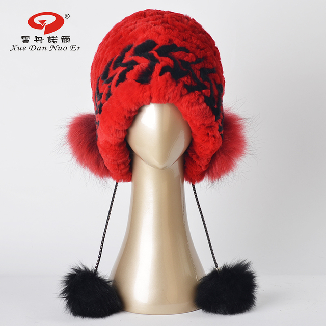 New arrival real fur hat for women natural fur lady cap real Rex rabbit fur with fox pompom fashional hat hot sale