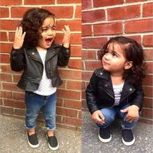 2017 Spring Kids Jacket PU Leather 1~3Y Girls Jackets Turn-down collar Outwear For Baby Girls Clothing Zipper Coats Ruffly Coats
