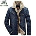 Chaqueta de mezclilla hombres chaqueta de AFS JEEP hombres de la marca de Invierno chaquetas de alta calidad de piel de parka engrosamiento caliente pantalones vaqueros los hombres de la chaqueta M-4XL