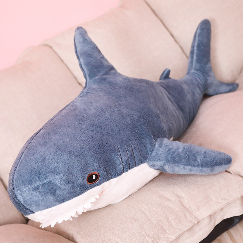 1 Pc 80/100cm 2019 Hot Doll  Big Size Funny Cute Soft Bite Blue Shark Plush Toy Pillow Appease Cushion Gift For Children