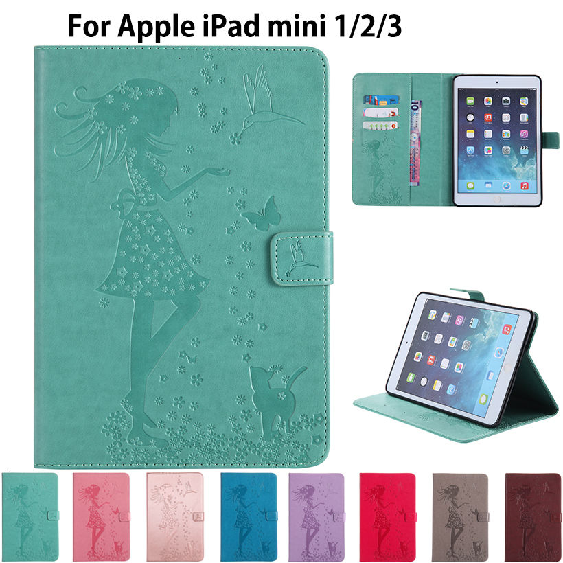 Tablet Case For Apple iPad mini mini 2 mini 3 Cover Girl Cat Embossed PU Leather Flip Stand Cases Funda Sleep Wake Skin Shell for ipad mini4 cover high quality soft tpu rubber back case for ipad mini 4 silicone back cover semi transparent case shell skin