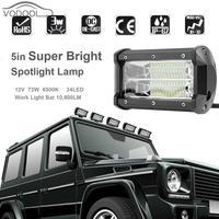 5 72W 6500K 6000LM 24LED 12V Car Work Light Bar Super Bright White Led Flood Spot