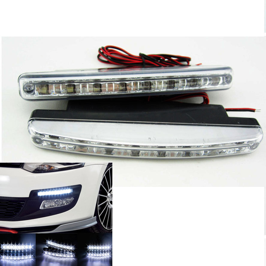 BBQ@FUKA 2pcs Car-styling 8 LED 12V White Euro Driving Fog Lamp DRL Daytime Running Lights For Lexus is250 Car Fog light
