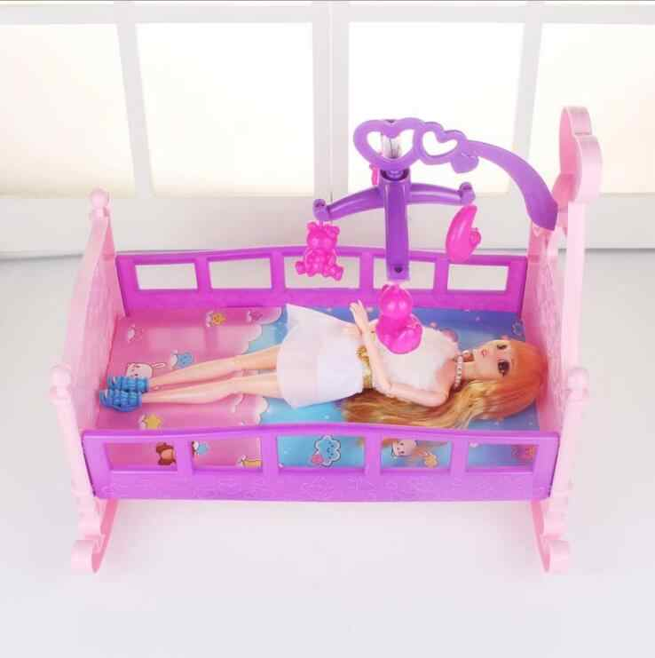 Fashion for barbie cradle Large princess Bed Doll dollhouse Toy Furniture For Barbie Doll Accessories Girls Toy Gift Baby