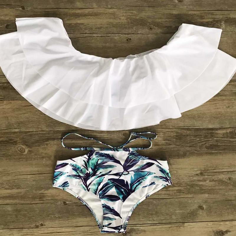 HTB1dFGsgEUIL1JjSZFrq6z3xFXaA - FREE SHIPPING Swimsuit Off Shoulder Leaf Print JKP408