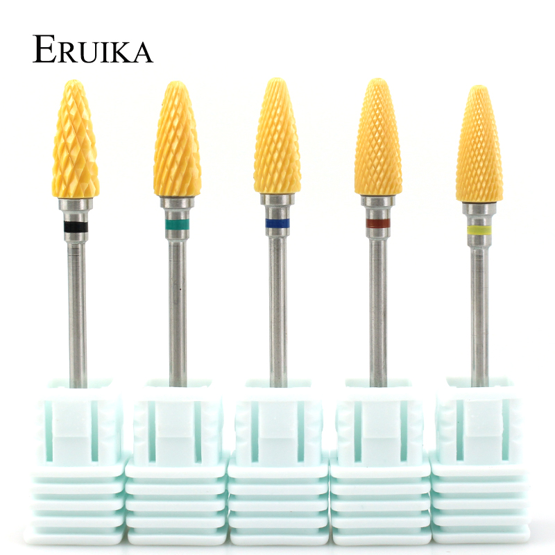 ERUIKA 1PC Yellow Nail Drill Ceramic Milling Cutter For Manicure Machine Electric Pedicure Apparatus Files Nails Accessories