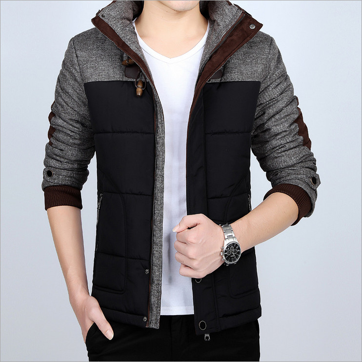 Men s 2017 winter thickened hooded coat stand collar increase the code warm coat Korean slim
