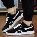 Venta caliente de la Nueva Marca de moda de Los Hombres Zapatos Ocasionales Atan Para Arriba Zapatos de lona de Los Hombres 2016 Zapatos de Los Planos Para Hombre Entrenadores Negro size38-46