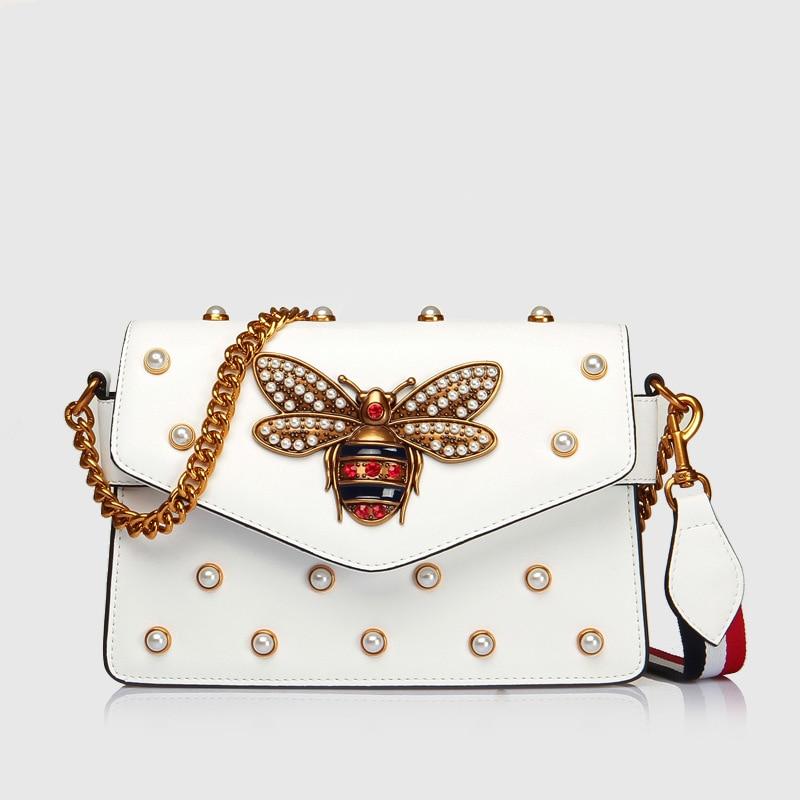 Luxury Branded Designer Handbag Women Genuine Leather Pearl Studded Mini Broadway Bee Shoulder Bag Clutch luxury designer genuine leather pearl studded padlock bag women shoulder bag