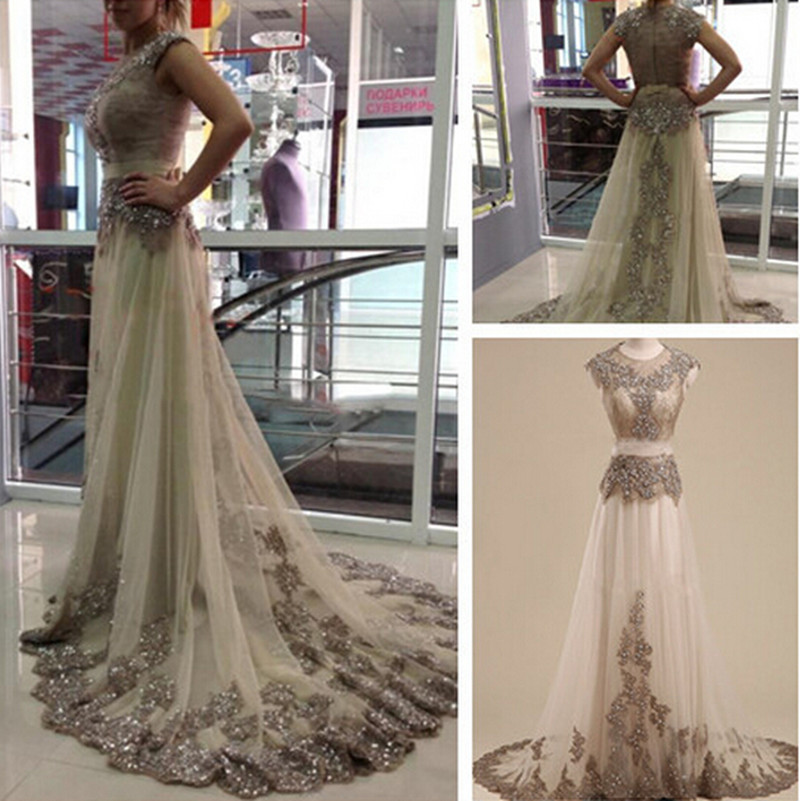 Luxury Beaded Appliqued Lace Prom Gown Elegant Champagne Formal Evening Dresses For Wedding Party Custom Made