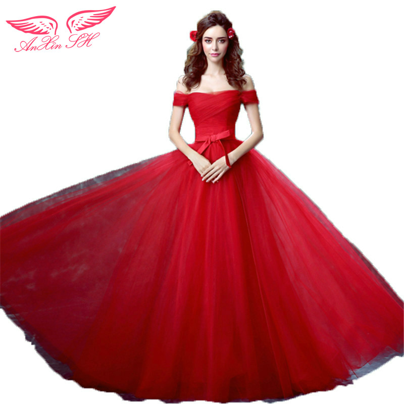 AnXin SH Sexy red wine lace prom dress word shoulder Princess Bride slim tail prom dress new 1132 S