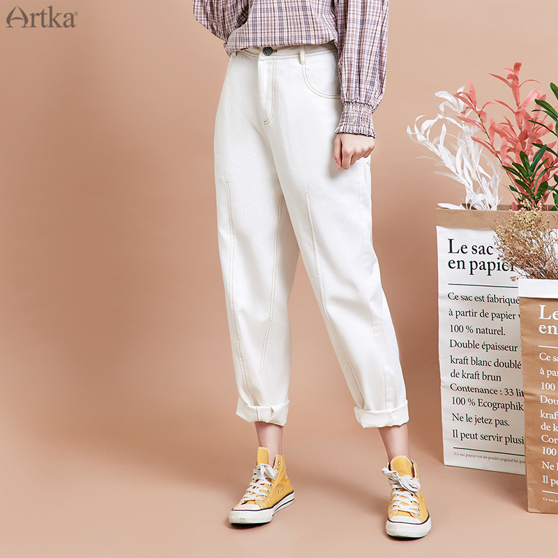 ARTKA 2019 Autumn New Women Pants 100% Cotton Straight Harem Pants White Loose Casual Pants For Women KN15299Q image