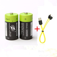 2PCS Hot sale ZNTER 1.5V 3000mAh rechargeable battery C size USB lithium polymer battery with USB micro charging cable