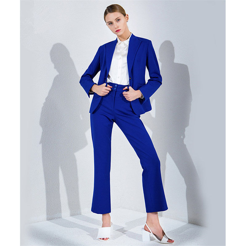 100% Quality Attend Ladies Elegant Blue Royal Ladies Suits Women's Business Suits Formal Work Business Wear 2 Piece Adapt Durable Modeling