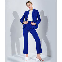 Attend Ladies Elegant Blue Royal Ladies Suits Women's Business Suits Formal Work Business Wear 2 Piece Adapt