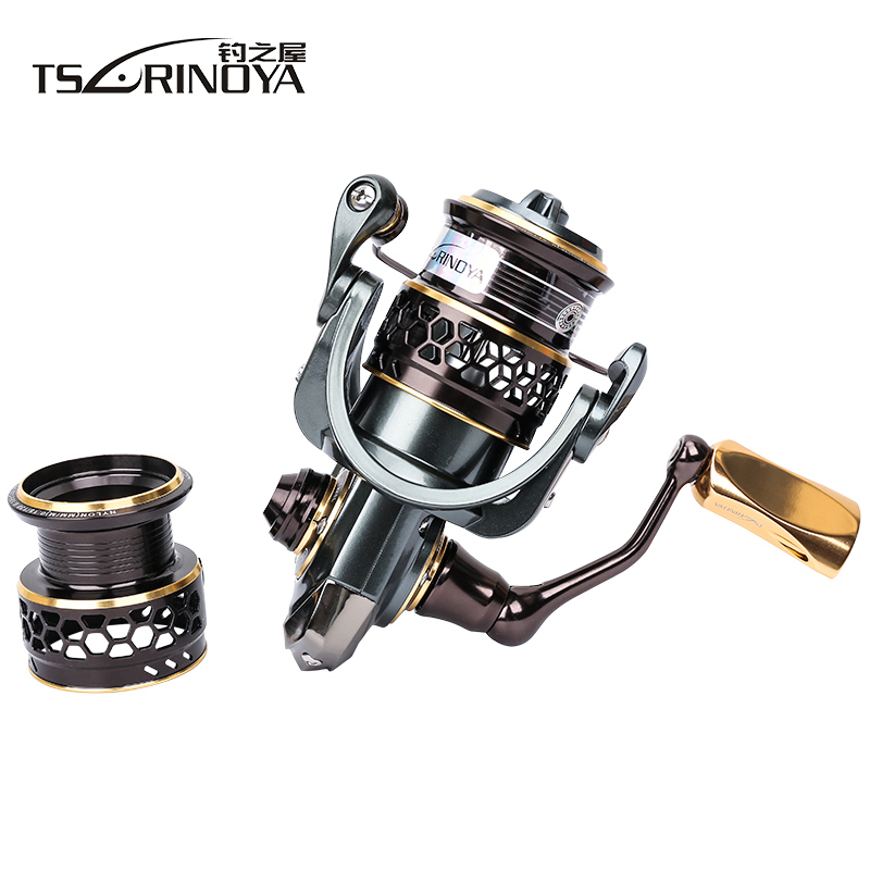 TSURINOYA 1000 Spinning Fishing Reel with Spare Spool 9+1BB 5.2:1 Carp Fishing Coils Aluminum Spool Carretes De Pescar