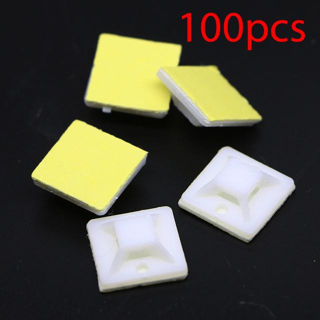 100pcs Self Adhesive Nylon Wire Cable Zip Ties Holder Mount Base ...