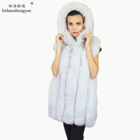 Linhaoshengyue Long 72cm real fox fur vest with Hooded