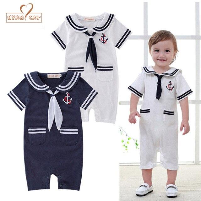 fb622db2a Nyan Cat Baby boys clothes summer short sleeves navy sailor romper ...