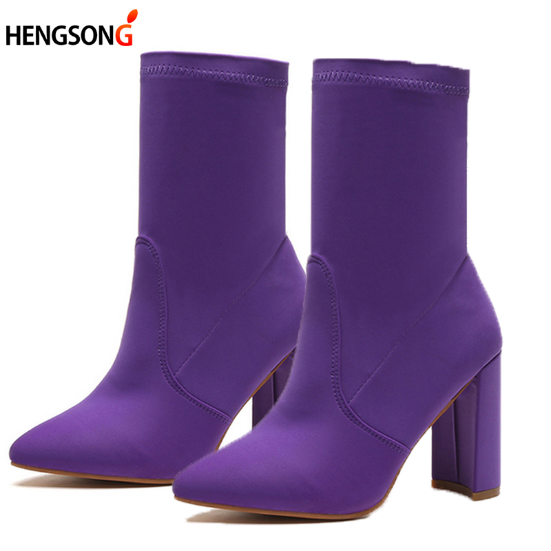 2017 Autumn Women's Boots Pointed Toe Yarn Elastic Ankle Boots Thick Heel High Heels Shoes Woman Female Socks Boots OR400850