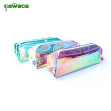 1PC Fashion Cool multicolor Stationery Bag Laser Transparent Pencil Case Large Capacity Cosmetic Bag Makeup Pouch Storage Bag(China)